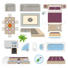 top bedroom furniture. Interior Elements Top View Position With Kitchen Lounge Bathroom Bedroom Furniture Isolated Vector Illustration Stock