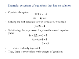 example a system of equations that has no solution consider the system solving the first