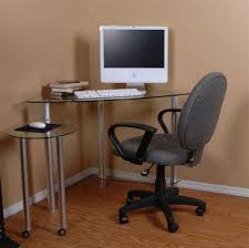 contemporary glass computer desks for home office design with brown beautiful wall color schemes and unique hydraulic chairs ideas also using laminate
