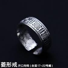 s999 thai jewelry sterling old nine door ring retro man opening ring