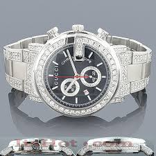 genuine mens gucci chrono diamond watch 8ct