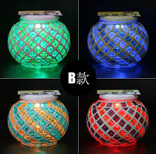 sun cans solar powered mosaic glass ball led garden lights color changing solar table lamps