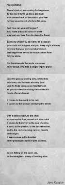 happiness poem by jane kenyon poem hunter
