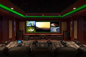 The dramatic LED lighting enhances the movie-viewing atmosphere, says  Gosch, by lining the perimeter of the cove ceiling, the wall columns, and  the crown ...