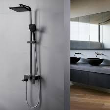 Details Zu Schwarz Duschsystem Duschset Regendusche Duscharmatur Eckig Duschkopf Handbrause