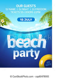 Beach Invitation Pool Beach Summer Party Invitation Banner Flyer Design Water And Palm Inflatable Yellow Mattress Beach Party Template Poster