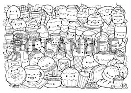 Drawing bread and butter for kids. Foods Doodle Coloring Page Printable Cute Kawaii Coloring Etsy