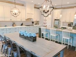 blue and white kitchen bella tucker decorative finishes kitchen with two paint colors after makeover