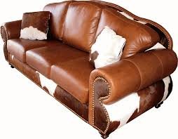 cowhide western couch d w light um or dark brindle hides and silver grade leather