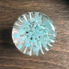 blue glass cabinet knobs amber colored