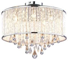 Chandeliers Design : Marvelous Flush Mount Drum Chandelier With Five Light  Chrome Clear Crystals Glass Shade Semi And Cry On Category Chandeliers  Crystal ...