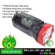 Đèn pin 9 bóng LED sạc xách tay - NDHS-589-DPLED (Đen) - Đèn pin Nhãn hàng  No brand