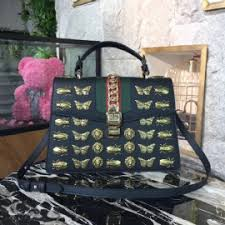 gucci bags 2017 collection. gucci sylvie animal studs 31cm bag 470270 calfskin leather spring summer 2017 collection black bags