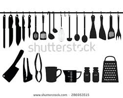 kitchen utensils silhouette vector free. Kitchen Utensils Silhouette A Collection Of Hanging On Bar And Under The Illustration Vector Free T