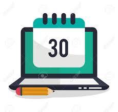 idea office supplies. Laptop Calendar And Pencil Icon. Office Work Idea Supplies Theme. Colorful Design.