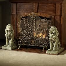 traditional decorative fireplace screens with classic two lion sculptures and antique powder coated bronze finish