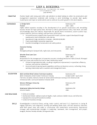 Assistant Construction Carpenter Resume Objective Lief Doezema