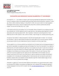 Rochester Lead Ordinance Passage Celebrates 10th Anniversary The