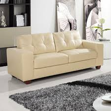 strada ivory cream leather sofa collection with tufted seats and cushions