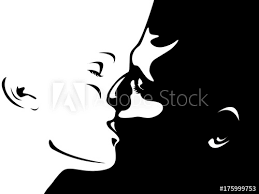 Silhouette Close Up Portrait Of Beautiful Woman And Man Kissing