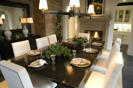 full size of dining om awesome design with rectangular dark table and padded white chairs on