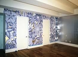 Wall featuring hand painted mural on top of silver leaf gilding bedroom