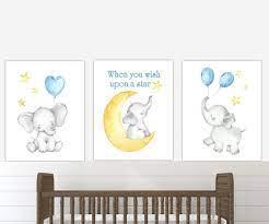 5 out of 5 stars. Baby Boy Nursery Decor Baby Elephant Print Blue Yellow Etsy Elephant Nursery Prints Baby Nursery Wall Art Nursery Decor Canvas