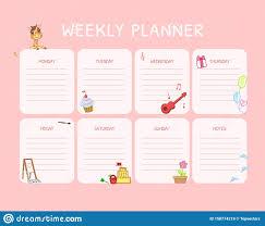 Schedule Calender Kids Weekly Planner Calendar Daily Pink Template Organizer