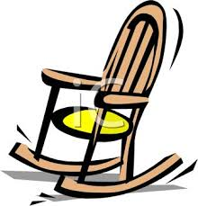 rocking chair clipart. Picture Of A Wooden Rocking Chair With Yellow Cushion In Vector Clip Art Illustration - Royalty Free Clipart
