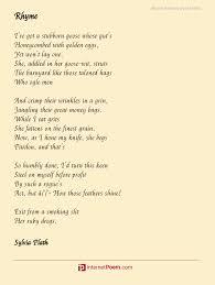rhyme poem by sylvia plath
