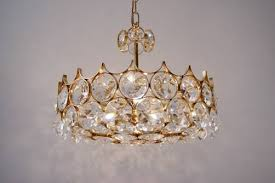 palwa chandelier gold plate faceted crystals 1970 s ca german