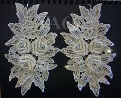 statement big chunky chandelier white lace long earrings 925 silver bl