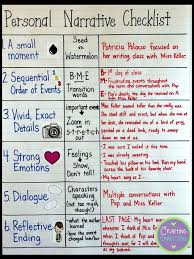 best narrative writing ideas personal  personal narrative checklist anchor chart a writing lesson and printables are also