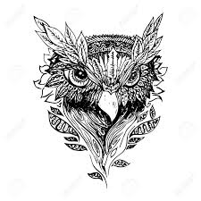 Black And White Owl Isolated Engraving Sketch Abstract Vector Bird With Leaves Print For T Shirt Wild Things