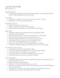 Sample Natural Birth Plan Printable Birth Plan Templates Birth Plan Checklist A Free