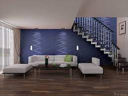 Living Room Under Stairs With Blue Wall ...