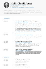 E Commerce Manager, Graphic Design & Photographer Resume samples
