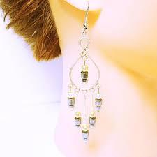 chandelier earrings long earrings art deco style white gold ivor
