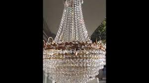 antique big basket style brass strass swarovski crystal chandelier 1940s 19 in