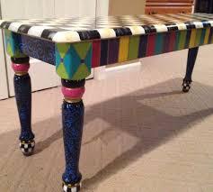 Buy A Custom Hand Painted Farmhouse BenchWhimsical Painted Bench Hand Painted Benches