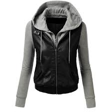 tl womens faux leather zip up moto cropped er jacket with hoo womens hooded leather jacket