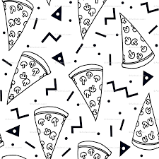 pizza party clipart black and white. Perfect Black Pizza Party  Black And White Shapes Rad 90s Kids Triangles  Food Wallpaper  Andrea_lauren Spoonflower For Pizza Party Clipart Black And White