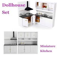 Dollhouse kitchen furniture Cheap Dollhouse Miniature Burlywood Integrated Kitchen Furniture Set 112 Scale Model Ebay Dollhouse Kitchen Set Ebay