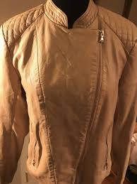 kenneth cole reaction womens side zip faux leather jacket sun sand size large