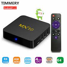 TV box, Android 7.1 TV Kotak MX10 4 GB (DDR4) 32 GB, dukungan 2.4G Wifi  Terhubung 64bit Quad Core 3D 4 K HDR Video Bermain Cerdas TV BOX smart tv  box