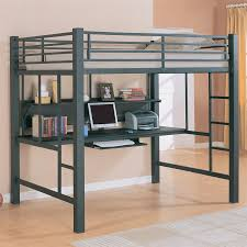 image of simple metal bunk bed with desk