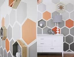 Hexagon wall pattern ideas for a great color and wall design