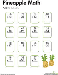 Pineapple Math: Two-Digit Addition | Worksheet | Education.comSecond Grade Addition Worksheets: Pineapple Math: Two-Digit Addition