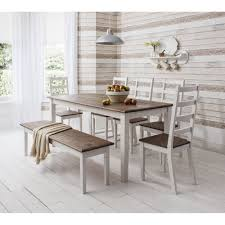 dining table with bench dining table and chairs canterbury white and dark pine