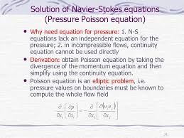 solution of navier stokes equations pressure poisson equation numerical methods in comtional fluid dynamics cfd ppt